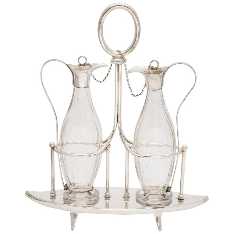 Victorian Sheffield Plate Footed Two-Bottle Cruet Set by William Hutton and Sons For Sale