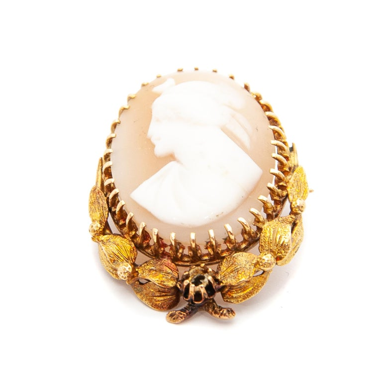 14 Karat Yellow Gold Shell Cameo Pendant Brooch In Good Condition For Sale In Rotterdam, NL