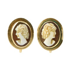 Victorian Shell Cameo Gold Earrings