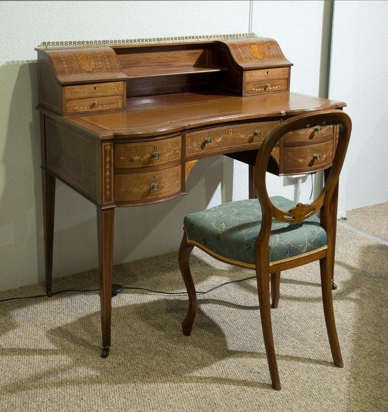 Victorian Sheraton Revival Mahogany Bonheur Du Jour For Sale 8