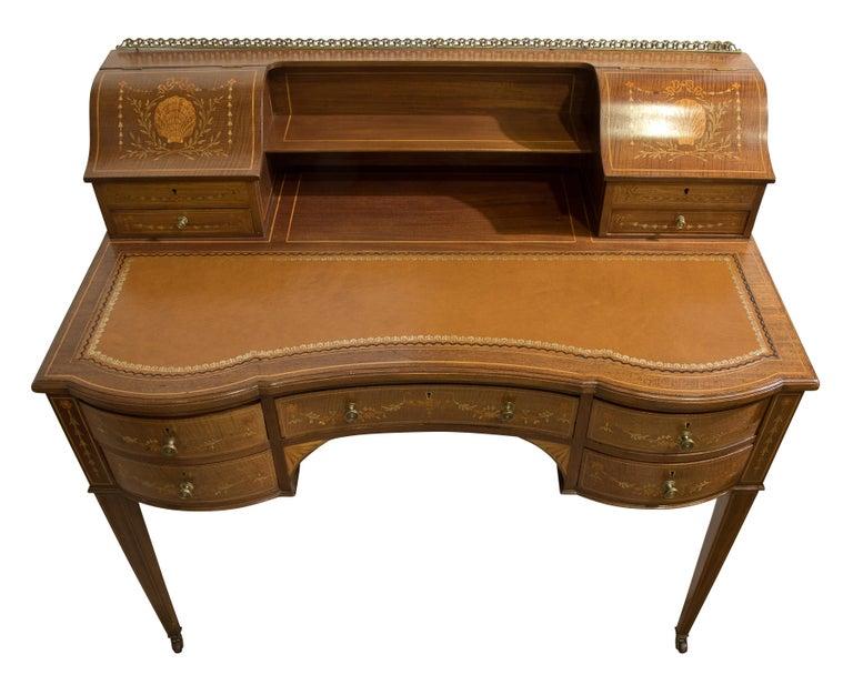 Victorian Sheraton Revival Mahogany Bonheur Du Jour In Good Condition For Sale In Salisbury, GB