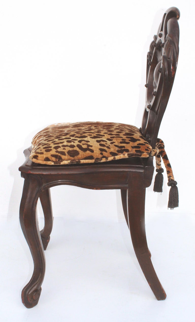 Late Victorian Victorian Shield Back Boudoir Chairs with Loose Velvet Animal Print Cushions For Sale