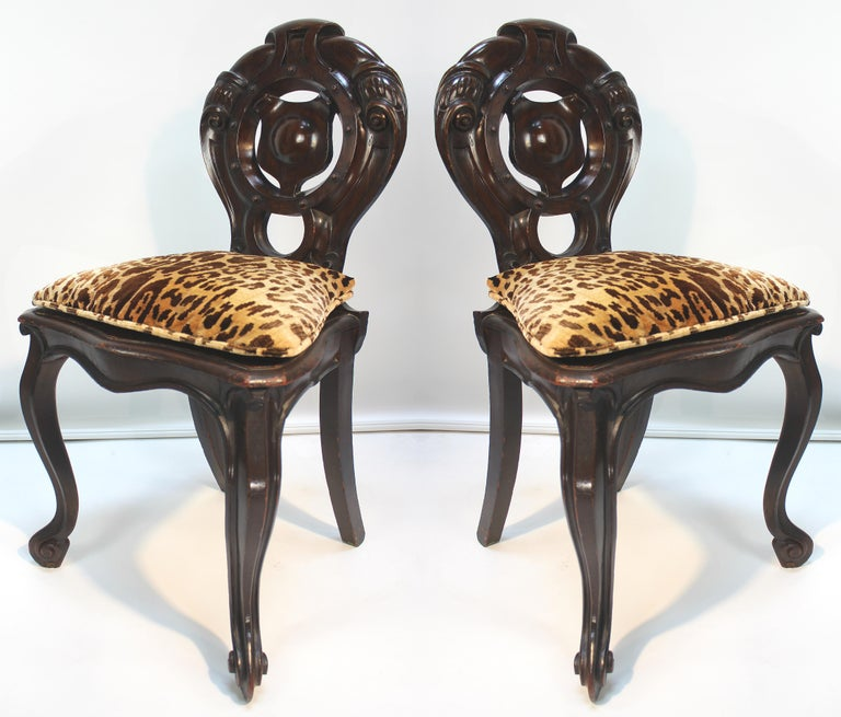 Carved Victorian Shield Back Boudoir Chairs with Loose Velvet Animal Print Cushions For Sale