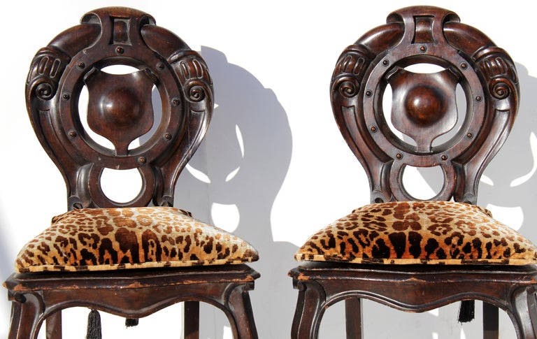 Victorian Shield Back Boudoir Chairs with Loose Velvet Animal Print Cushions In Good Condition For Sale In Miami, FL