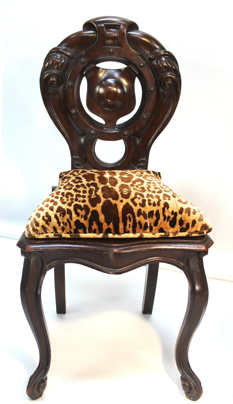 19th Century Victorian Shield Back Boudoir Chairs with Loose Velvet Animal Print Cushions For Sale