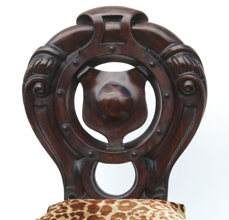Wood Victorian Shield Back Boudoir Chairs with Loose Velvet Animal Print Cushions For Sale
