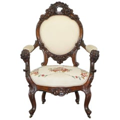 Victorian Show Frame Lion Carved Walnut Salon Armchair Embroidered Upholstery
