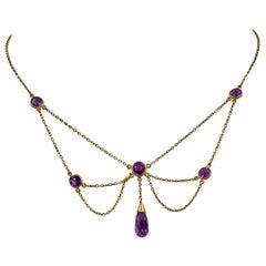 Victorian Siberian Amethyst Festoon Necklace Antique 14 Karat Gold Briolette