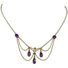 Victorian Siberian Amethyst Pearl Festoon Swag Necklace 14 Karat Gold