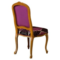 Victorian Side Chair in Walnut Finish and Pink Upholstered Seating by Modenese