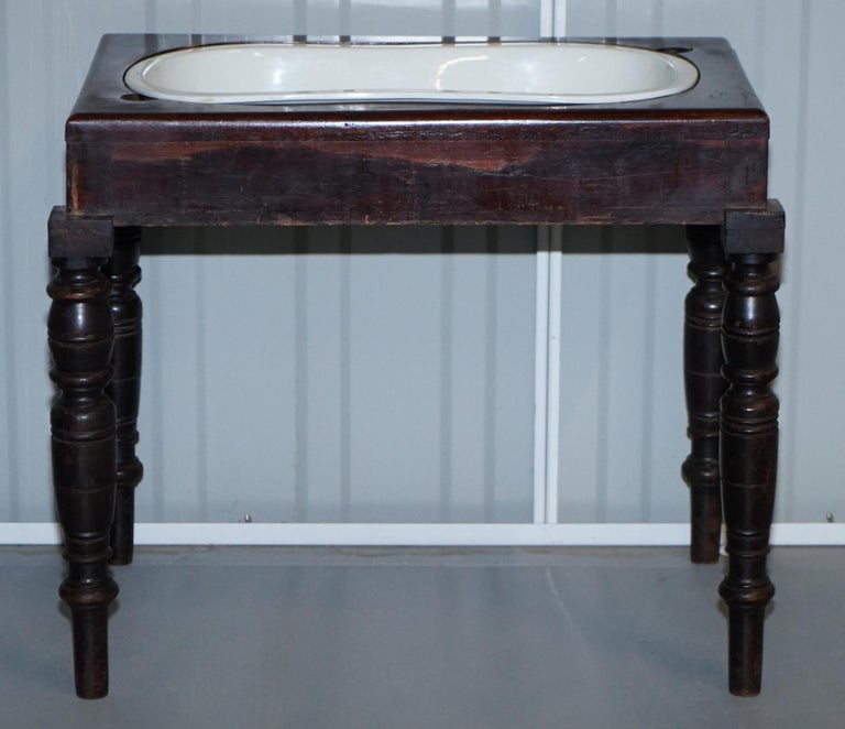 Victorian Side Table with Ceramic Stamped Porcelain Baby or Foot Bath Wash Basin For Sale 8