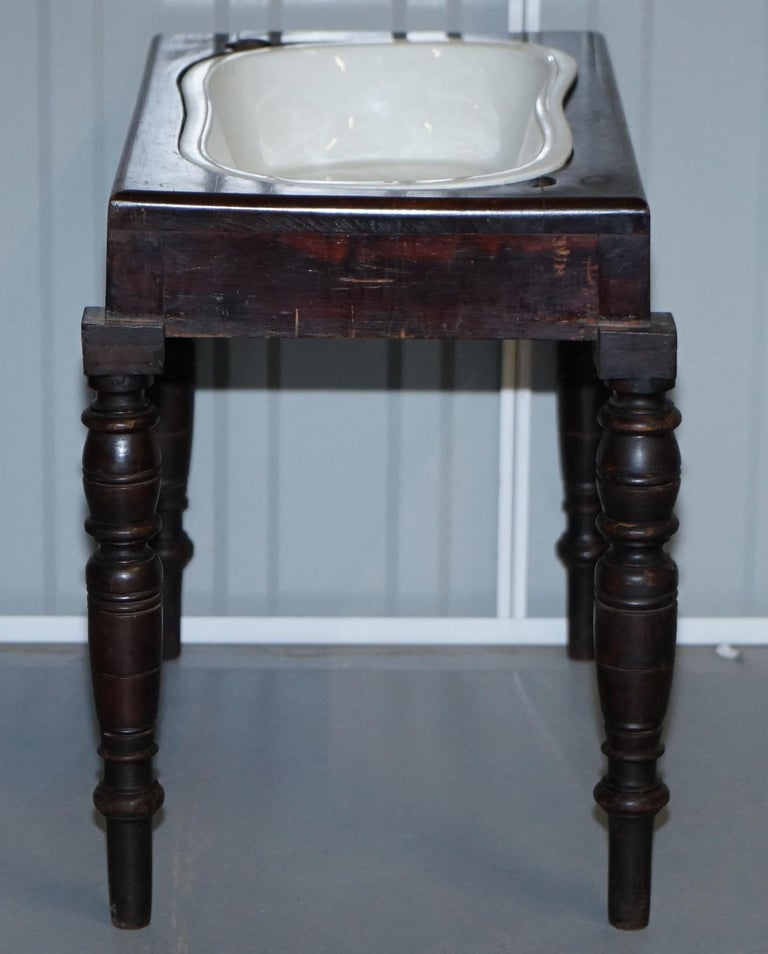 Victorian Side Table with Ceramic Stamped Porcelain Baby or Foot Bath Wash Basin For Sale 9