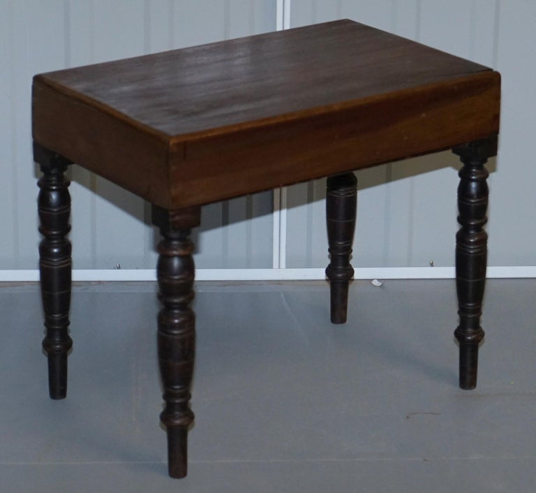 Hand-Crafted Victorian Side Table with Ceramic Stamped Porcelain Baby or Foot Bath Wash Basin For Sale