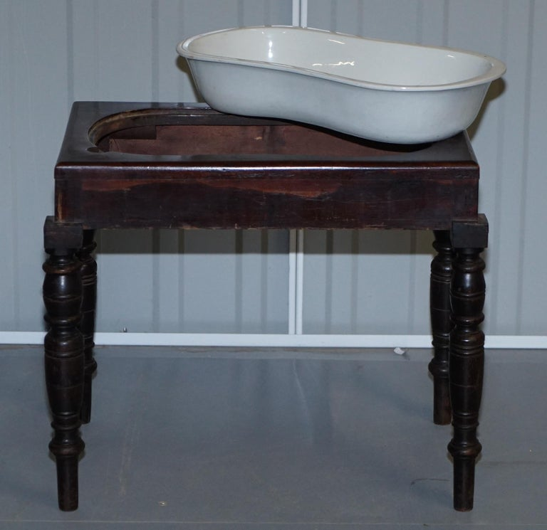 Victorian Side Table with Ceramic Stamped Porcelain Baby or Foot Bath Wash Basin For Sale 1
