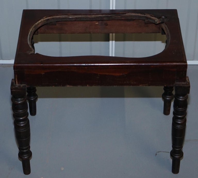Victorian Side Table with Ceramic Stamped Porcelain Baby or Foot Bath Wash Basin For Sale 2