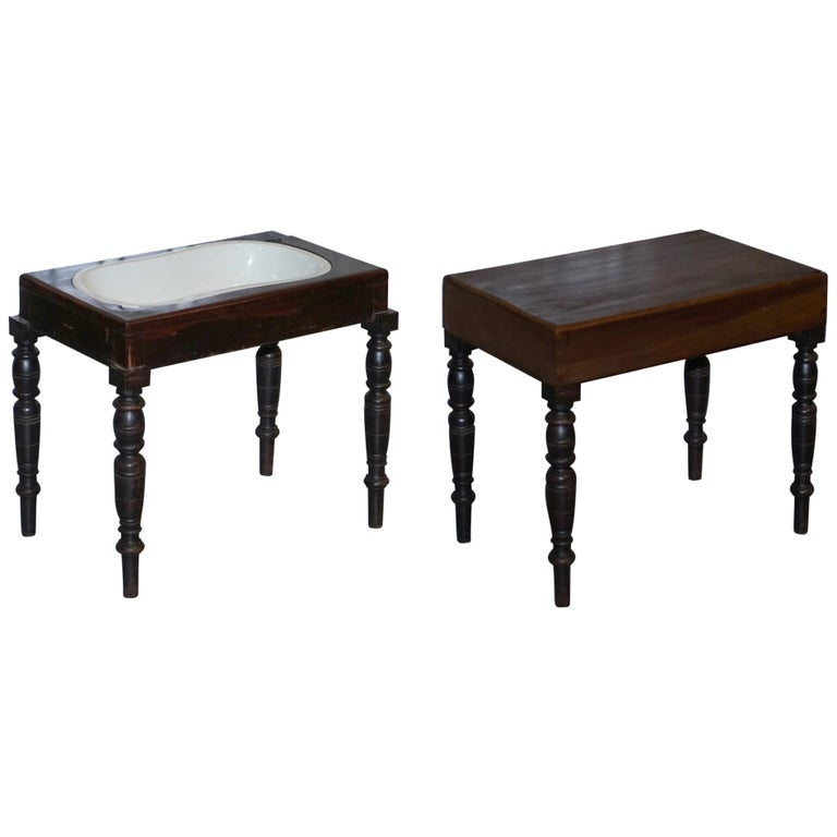Victorian Side Table with Ceramic Stamped Porcelain Baby or Foot Bath Wash Basin For Sale