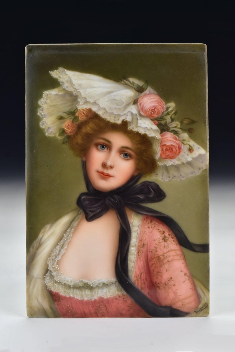 Victorian Signed Wagner German Painting on Porcelain of Young Woman For Sale 1