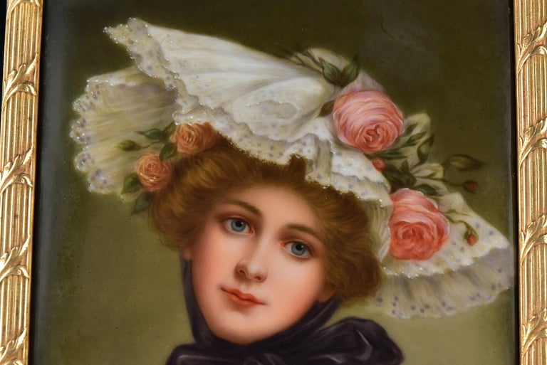 Victorian Signed Wagner German Painting on Porcelain of Young Woman In Good Condition For Sale In Newport, NH
