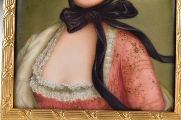 19th Century Victorian Signed Wagner German Painting on Porcelain of Young Woman For Sale