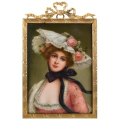 Victorian Signed Wagner German Painting on Porcelain of Young Woman