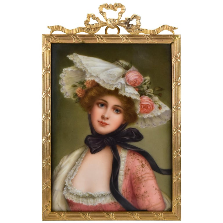 Victorian Signed Wagner German Painting on Porcelain of Young Woman For Sale