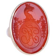 Victorian Signet Carnelian Intaglio Armorial Dragon Gold Ring, 1880