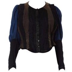 Victorian Silk & Cotton Deconstructed Baleen Boned Bodice Top With Belle Epoque