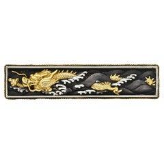 Victorian Silver 18 Karat Gold Mixed Metal Shakudo Ryujin Dragon Bar Brooch
