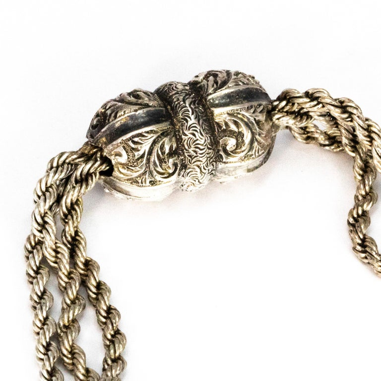 Victorian Silver Albertina Bracelet with Tassel Detail In Good Condition In Chipping Campden, GB