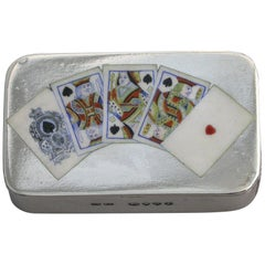 Victorian Silver and Enamel Playing Cards Vesta Case by Saunders & Shepherd 1887