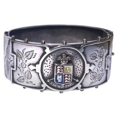 Victorian Silver and Enamel with Coat of Arms Bangle