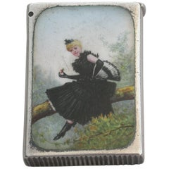 Victorian Silver and Enamel Young Lady in a Tree Vesta Case 1891