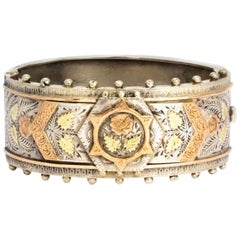 Victorian Silver and Gold Bangle