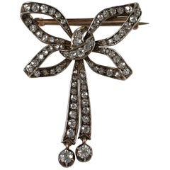 Victorian Silver and Gold Diamond Bow Brooch, circa 1890s