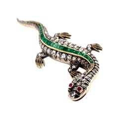 Victorian Silver and Gold Lizard Pin