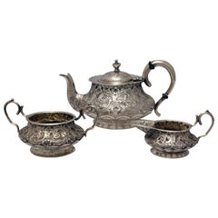 Victorian Silver Batchelors' Tea Service with Lobed and Acanthus Decoration