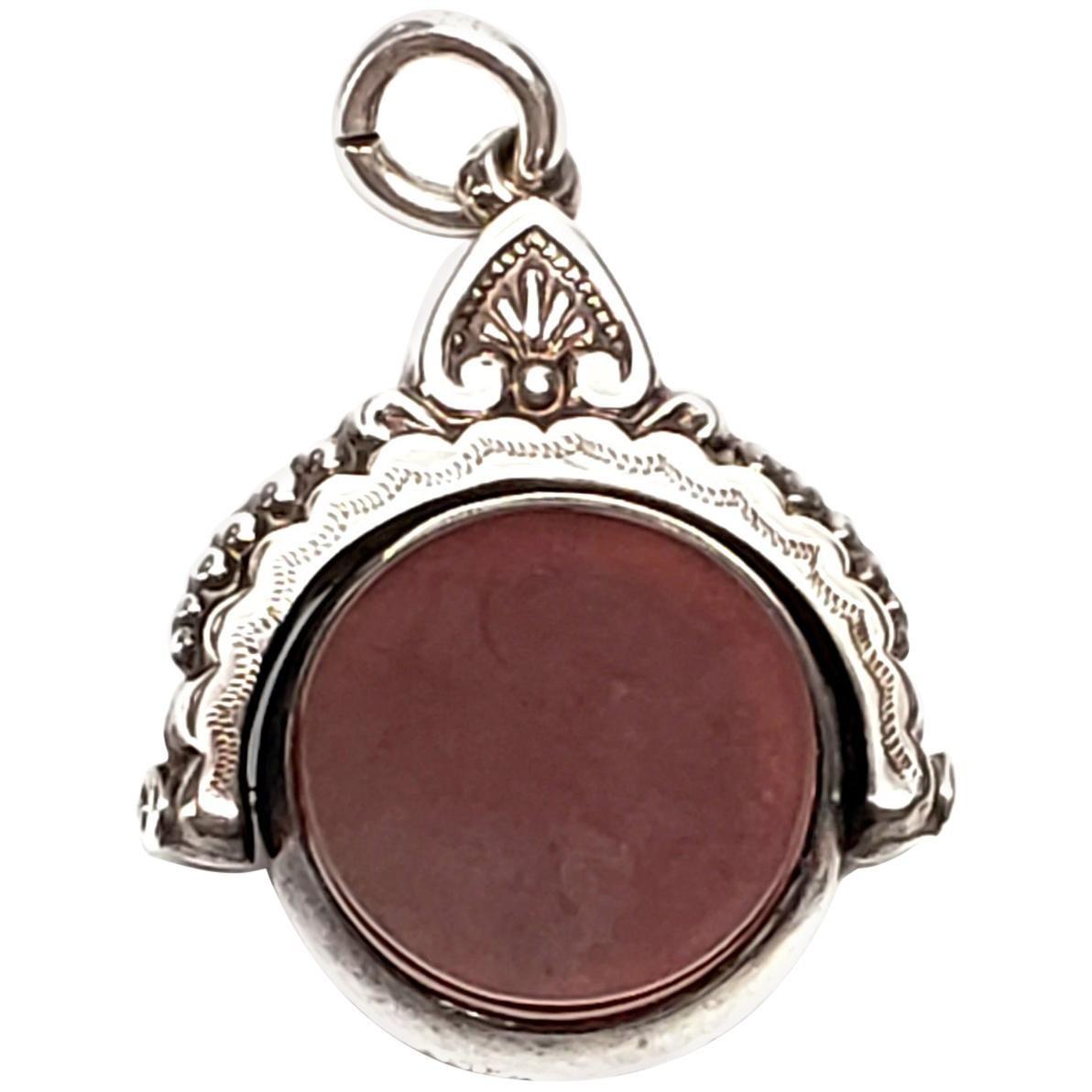 Victorian Silver Bloodstone Watch Fob Pendant