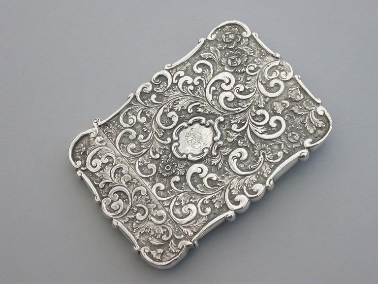 Victorian Silver Castle-Top Card Case 'Westminster Abbey', Nathaniel Mills 1840 For Sale 6