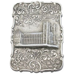 Victorian Silver Castle-Top Card Case 'Westminster Abbey', Nathaniel Mills 1840