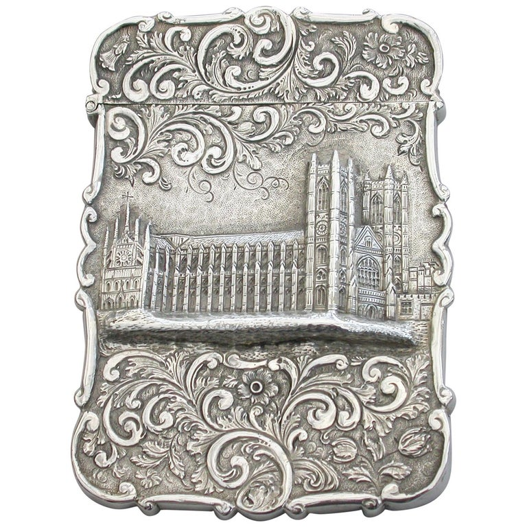 Victorian Silver Castle-Top Card Case 'Westminster Abbey', Nathaniel Mills 1840 For Sale