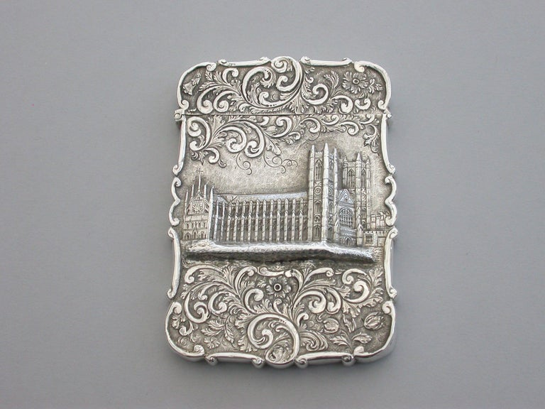 English Victorian Silver Castle-Top Card Case 'Westminster Abbey', Nathaniel Mills 1840 For Sale