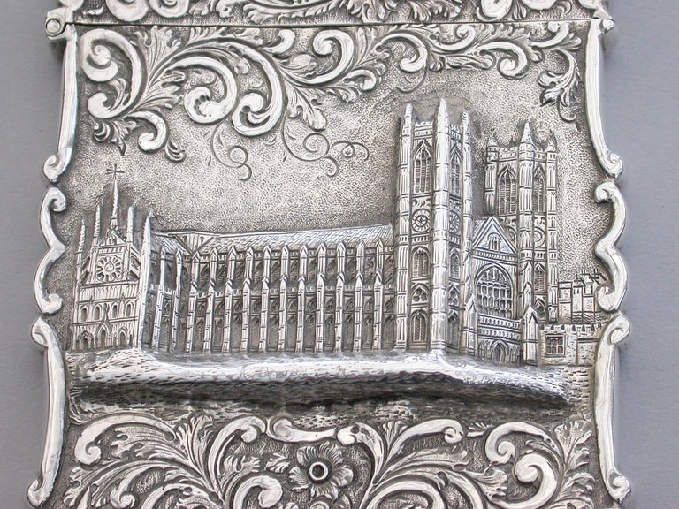 Victorian Silver Castle-Top Card Case 'Westminster Abbey', Nathaniel Mills 1840 In Good Condition For Sale In Sittingbourne, Kent