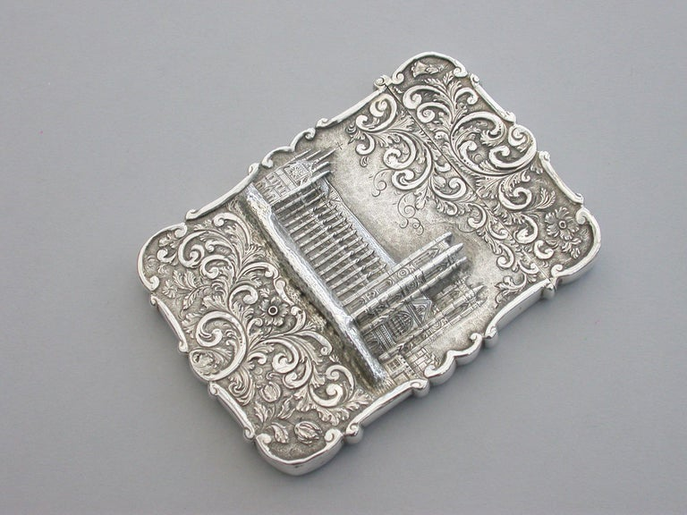 Mid-19th Century Victorian Silver Castle-Top Card Case 'Westminster Abbey', Nathaniel Mills 1840 For Sale