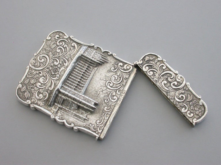 Victorian Silver Castle-Top Card Case 'Westminster Abbey', Nathaniel Mills 1840 For Sale 1