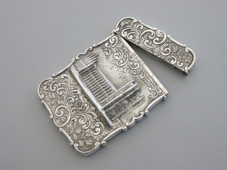 Victorian Silver Castle-Top Card Case 'Westminster Abbey', Nathaniel Mills 1840 For Sale 2