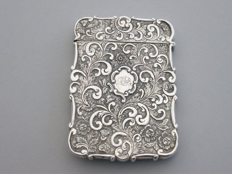 Victorian Silver Castle-Top Card Case 'Westminster Abbey', Nathaniel Mills 1840 For Sale 4