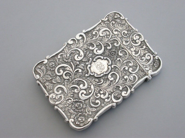 Victorian Silver Castle-Top Card Case 'Westminster Abbey', Nathaniel Mills 1840 For Sale 5