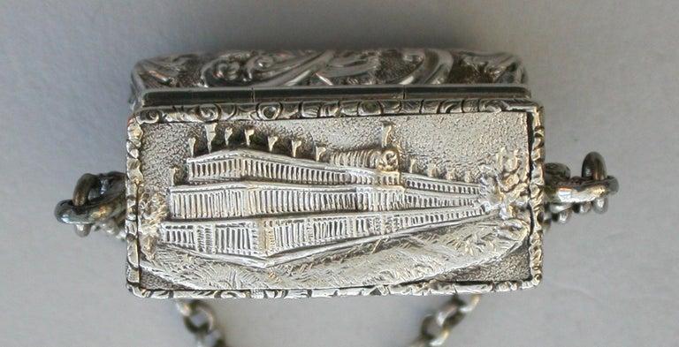 Victorian Silver Castle-Top Reticule Vinaigrette - Crystal Palace J Tongue 1851 For Sale 1