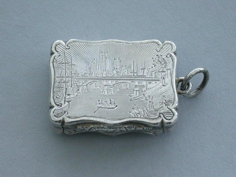 English Victorian Silver Castle-Top Vinaigrette - Selby Bridge & Abbey 1852 For Sale