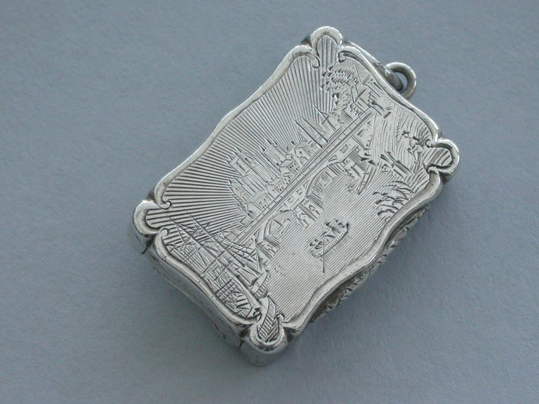 Victorian Silver Castle-Top Vinaigrette - Selby Bridge & Abbey 1852 In Good Condition For Sale In Sittingbourne, Kent